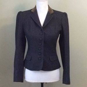 Gray Vintage Fitted Wool Blazer